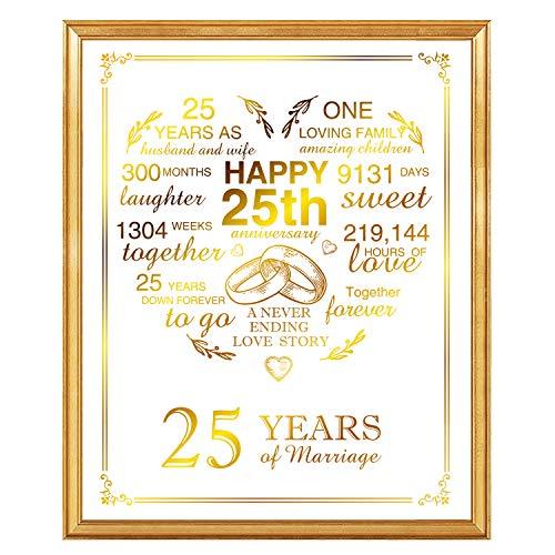 25th Anniversary Real Gold Print, 25 Years Wedding Anniversary for Women Or Men, Silver Anniversary, 8 x 10 Unframed