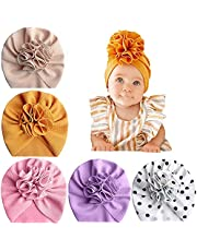 Baby Turbans Hats Newborn Headwraps Baby Girl Beanie Hat Cap with Flower For Infant Hospital Nursery Hat 5pcs Knot Baby Hat