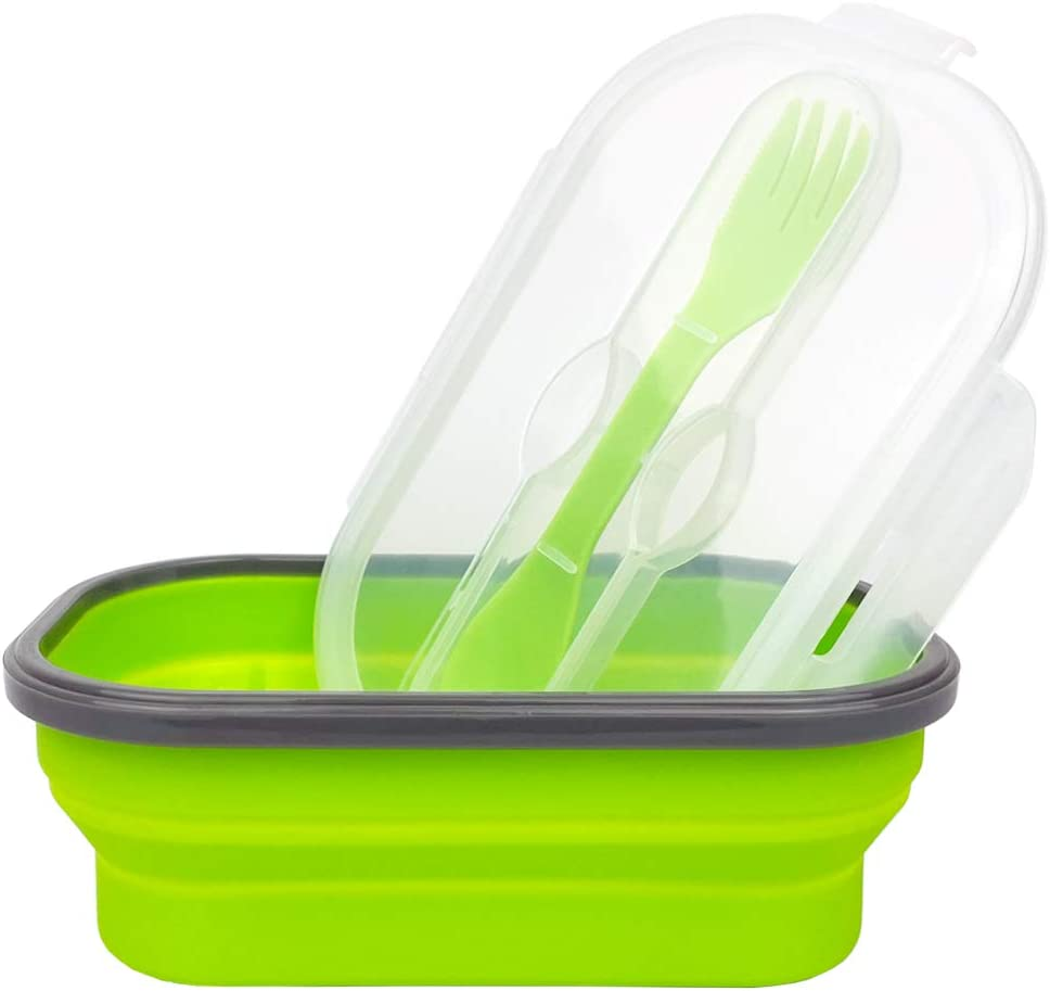 ECOmorning Green Silicone Lunch Container Bento Lunch Box Collapsible Food Storage Container with Airtight Lid and Fork, Ideal For Lunch, Camping, 800ML