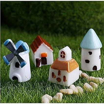 FUWUX-Home Casa Jardín de Hadas Artesanía en Miniatura Paisaje Decoración 4 Unids Mini Resina