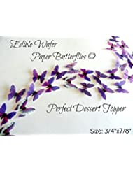 Assorted Purple Wafer Paper Butterflies 7/8 Inch for Decorating Desserts Wedding Cakes Cupcakes Pack of 24
