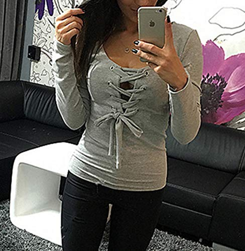 Pulls Jumpers Col Top Gris Blouse Fashion et Automne Sexy Printemps Slim Shirts Fashion Bandage V Femmes Tees Simple Hauts T vAqgfxwUx