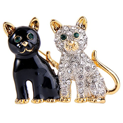 EVER FAITH® Femme Cristal Email Noir 2 Chien Animal Couple Broche Pin Clair Plaqué Or N08020-1