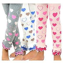 TeeHee Kids Girls Leggings with Ruffle Bottom 3 Pair Pack