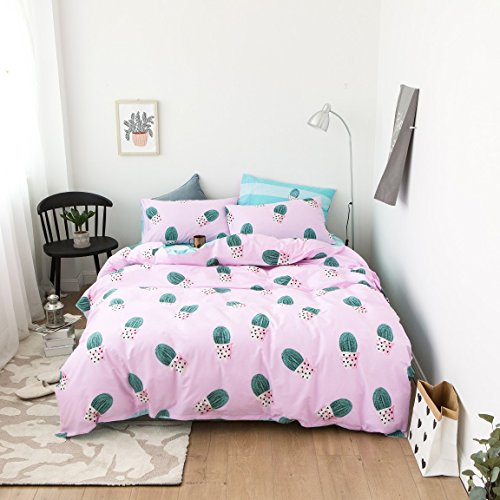 Duvet Cover Set Twin Size 3 Piece (1pc Duvet Cover + 1pc Flat Sheet + 1pc Pillowsham) by WarmGo, 100% Cotton Bedding Set with Ball Cactus Pattern - Not Include Comforter by WarmGo