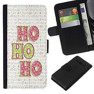 Planetar® Modelo colorido cuero carpeta tirón caso cubierta piel Holster Funda protección Para Samsung Galaxy A3 / SM-A300 ( Navidad del día de fiesta de invierno Texto)