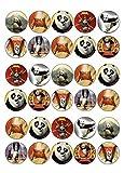 30 X KUNG FU PANDA MIXED IMAGES EDIBLE CUPCAKE TOPPERS PREMIUM RICE PAPER 240