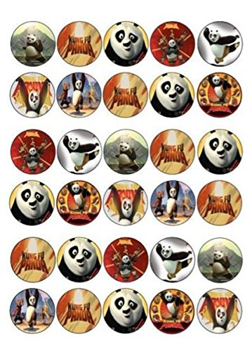 (30 X KUNG FU PANDA MIXED IMAGES EDIBLE CUPCAKE TOPPERS PREMIUM RICE PAPER)