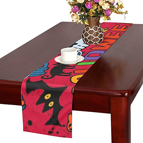 WUTMVING Doodle Halloween Holiday Design Concept Table Runner, Kitchen Dining Table Runner 16 X 72 Inch for Dinner Parties, Events, Decor