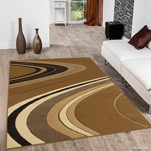 Allstar 8 X 10 Gold Brown Ivory Modern Chic Wave Design Area Rug (7' 10