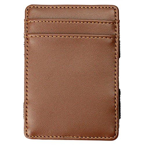 (Magic Wallet - Magical Flip, for Men Women Kids - Genuine Leather Thin Wallet (Brown))