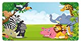 Kids License Plate by Ambesonne, Kids Design Children Nursery Room Safari Themed Cartoon Animals Image Artwork Print, High Gloss Aluminum Novelty Plate, 5.88 L X 11.88 W Inches, Multicolor