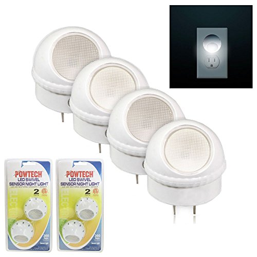 (OKSLO 4 Pack LED Swivel Sensor Night Light Guide Rotating Auto Control Plug In Lamp)