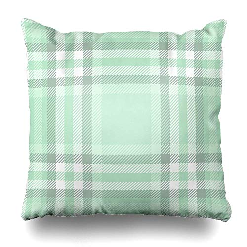 Set Green Border Plaid Checkered Abstract Picnic Check Throw Pillow Covers Soft Pillow Cases Sham Cushion Covers for Sofa Couch Bed 18x18 Inch ()