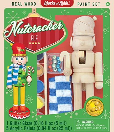 Kids Nutcracker - MasterPieces 21427 Works of Ahhh Christmas Real Wood Large Acrylic Paint Kits, Nutcracker Elf, Mom's Choice Award, For Ages 4+