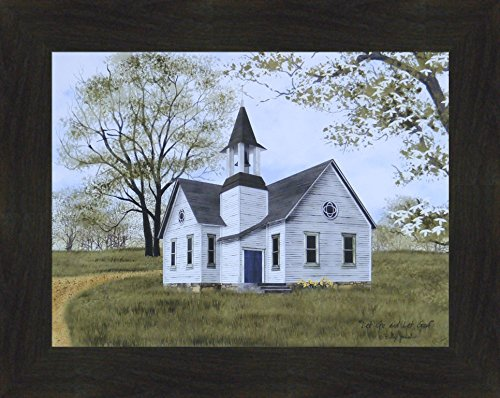 (Let Go and Let God by Billy Jacobs 16x20 Country Church Steeple Religious Spiritual Primitive Folk Art Framed Print Picture)