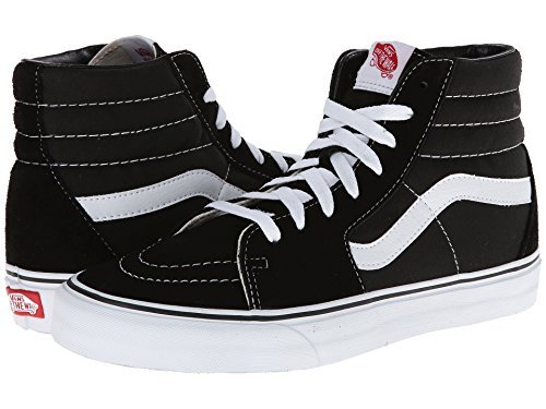 Vans Sk8-Hi Skate Shoe (42 M EU/9 D(M), Black/Black/White Canvas)