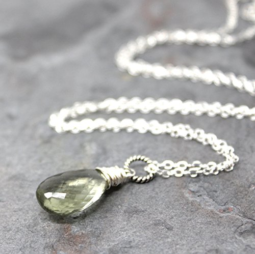 Green Amethyst Necklace Sterling Silver Prasiolite Pendant Mint 18 Inches