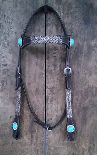 Rawhide Futurity - NEW Western OIL Pull up Leather Headstall Raw-hide Futurity Knotted & Tourquies Conchosed Brow Band Headstall Brown