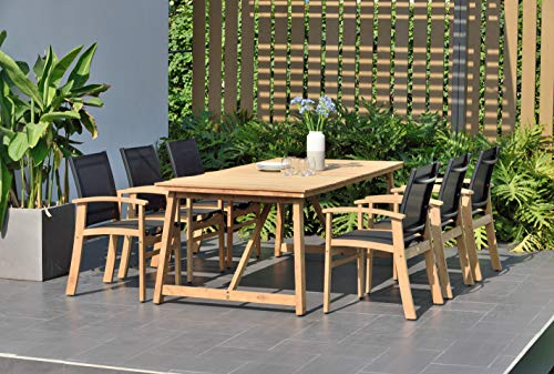 - Brampton Brittany 7-Piece Outdoor Dining Set | Teak Table Deluxe with Quick-Dry Chairs| Perfect for Patio, Black