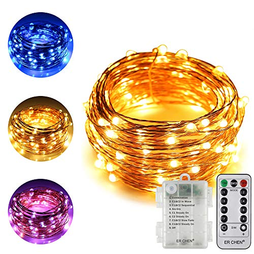 ErChen Dual-Color Battery Operated Led String Lights, 33 FT 100 LEDs Color Changing Silvery Copper Wire Dimmable Fairy Light with Remote Timer for Indoor Outdoor Christmas (Warm White, Blue)