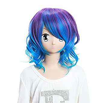 Party Costume Wig Purple & Blue Curly