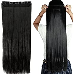 "S-noilite Trendy 24""/26"" Straight Curly 3/4 Full Head One Piece 5clips Clip in Hair Extensions Long Poplar Style for Xmas Gifts 22colors (26"" - Straight, natural black)"