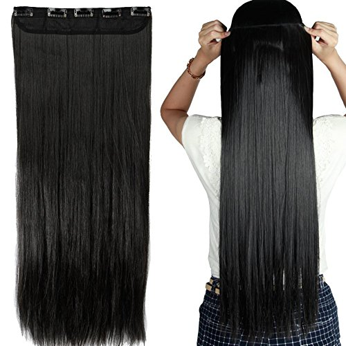 "S-noilite Elegant 30"" Longest Straight Natural Black 3/4 Ful"