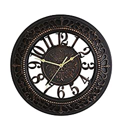 Foxtop 14 Inch European-style Vintage Retro Antique Royal Style Resin See-through Wall Clock, Creative Home Living Room Boutique Hotel Mute Wall Clock (Black)