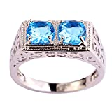 Psiroy 925 Sterling Silver Fashion Round Brilliant Cut Blue Topaz Cubic Zirconia CZ Filled Ring for Women