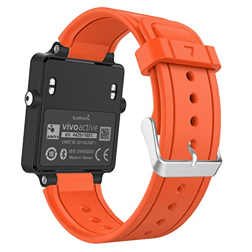 Garmin Vivoactive Watch Band, MoKo Soft Silicone Replacement Fitness Bands Wristbands with Metal Clasps for Garmin Vivoactive / Vivoactive Acetate Sports GPS Smart Watch - - Orange Acetate