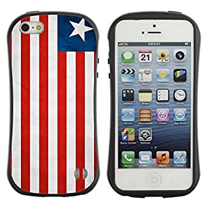 Oriz TPU / PC Hybrid Case 360 Protection Back Cover Apple iPhone 5 / 5S - Liberia Grunge Flag -
