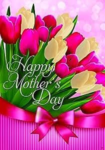 uoopoo bandera feliz día de la madre para mamá, diseño de tulipanes al aire libre banderas de doble cara resistente al agua y resistente a la decoloración impreso Banners 12,5x 18inch 100% poliéster