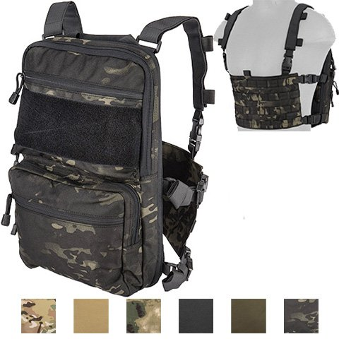 Lancer Tactical Modern Slim to 2-Day Trek Back Pack with Padded Back Mesh Weave Vent and Chest Rig Four Line MOLLE Panel Exterior Pockets Hydration Bladder 1000 Denier Double Stitched (Urban CAMO)