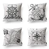 PHANTOSCOPE Ocean Series Grey Compass Map Anchor Navigation Throw Pillow Case Cushion Cover 18'' x 18'' 45cm x 45cm Set of 4