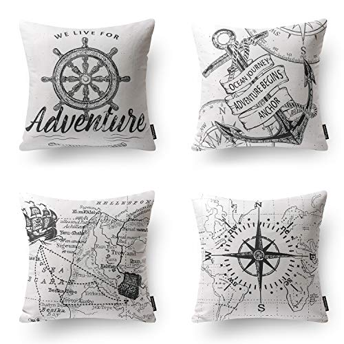 PHANTOSCOPE Ocean Series Grey Compass Map Anchor Navigation Throw Pillow Case Cushion Cover 18'' x 18'' 45cm x 45cm Set of 4 by PHANTOSCOPE