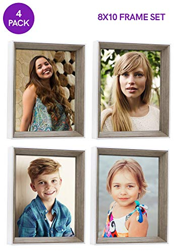Sixtrees 8X10 Inch, Gray and White Wood Deep Picture Frames, Adds Depth with Contrast Color, Mounting Hooks Wall Hanging, Or Standing Easel, Rustic Distressed Bulk (4 Pack Outside White Inside -