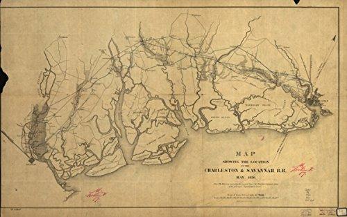 Map: 1856 showing the location of the Charleston & Savannah R.R. May, 1856. of the South Carolina tidewater area between Charleston and Savannah, Ga.