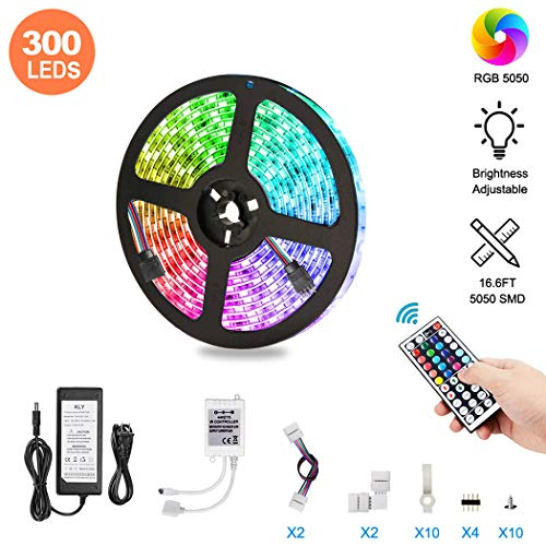 LED Strip Lights, Topwey 16.5ft Waterproof Color Changing Rope Lights 5050 RGB LED Tape Lights with Remote for Party and Home Kitchen Christmas Indoor Decoration (16.4ft)