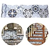 ChasBete Backsplash Tile Stickers 7x215inch Peel & Stick Vinyl Wall Tile Decals Stickers Easy to Apply for Home Bathroom Kitchen Stairs Decoration (Tiles Stickers Ha3)