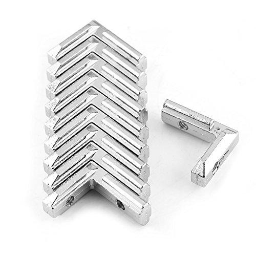 10 Pcs T Slot Corner Bracket Heavy Duty L-Shape Aluminum Profile Interior Corner Brackets Connector Carbon Steel Brackets Reinforcement Brace (EU-3030) by Hilitand (Image #3)