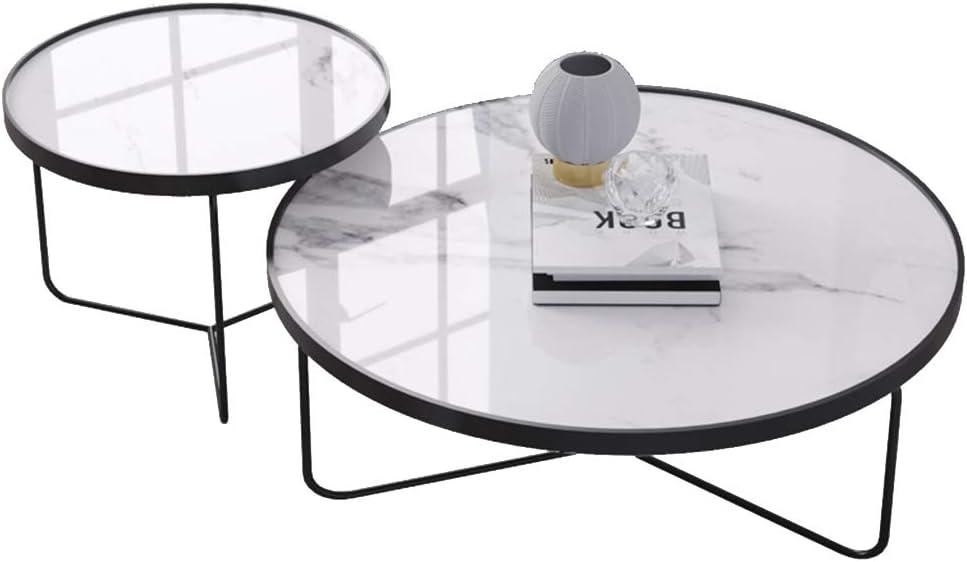 2020 Nieuwste LAMXF bijzettafel woonkamer metaal Runder, elegante 2-delige salontafel van metaal met marmeren plaat, 50x50cm / 80x40cm wit en wit dYr8OT6