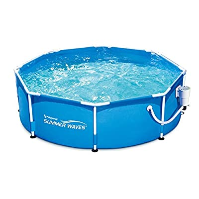 Summer Waves 8' Metal Frame Above Ground Family Swimming Pool Set w/Filter Pump
