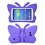 Tading Galaxy Tab 4 7.0 Kids Case,Tab 3 Lite Case, Light Weight Kids Friendly Shockproof EVA Foam Super Protection Stand Cover Universal Fit for Samsung Tablet 3/ 3 Lite ,Butterfly Design - Purple