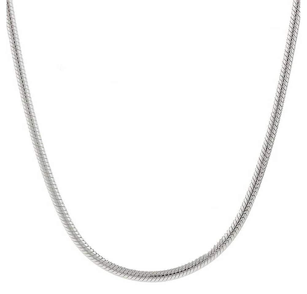 18-30 Verona Jewelers Sterling Silver 1.5MM 2MM Italian Solid Round Snake Chain Necklace-Sterling Silver Chain for Pendants Magic Flexible Snake Chain