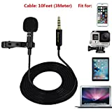 Lavalier Lapel Microphone Omnidirectional Condenser Clip On Mic with GoPro Adapter for HERO 3 3+ 4 IPhone iPad Smartphones DSLR PC Youtube Interview Studio Video Noise Cancelling Recording Mic