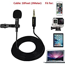 Lavalier Lapel Microphone Omnidirectional Condenser Clip On Mic 10Feet Cable with GoPro Adapter for HERO 3 3+ 4 IPhone iPad Smartphones DSLR PC Noise Cancelling Recording Mic