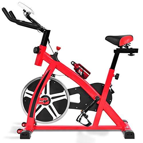 Goplus Indoor Cycling Bike Stationary Bicycle with 22lbs Flywheel, Pulse Rate Sensors and LCD Display, 330lbs Weight Capacity Professional Exercise Bike for Home and Gym Use