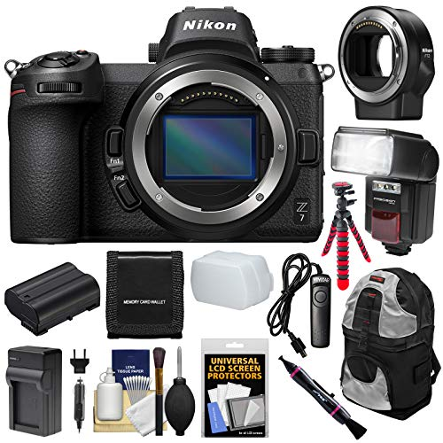 Nikon Z7 Mirrorless Digital Camera Body with Backpack + Flash + Battery + Charger + Tripod + Mount Adapter + Kit