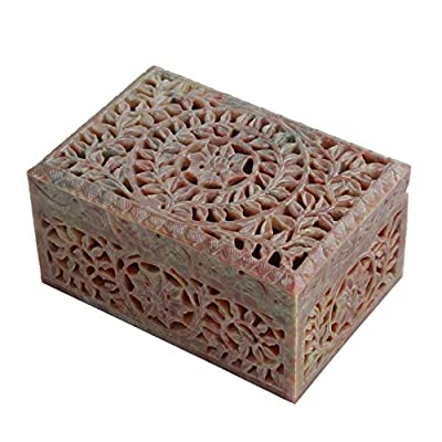 Hand Carved Soapstone Box Home Accent Gifting Decorative Table Top Accessory
